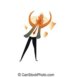 Man has a fire on the spot for anger. Vector illustration on...