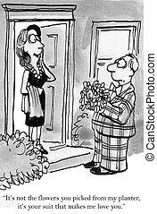 "Man has loud suit that effects woman - ""It's not the flowers..."