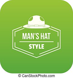 Man hat icon green vector isolated on white background