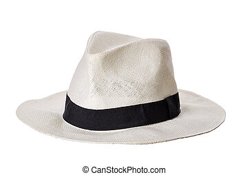 Man hat with black ribbon isolated on white background