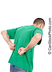 Man have a kidney pain - Man suffering from a kidney or back...