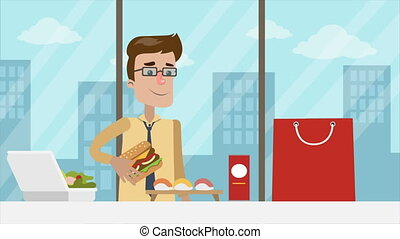 Man have appetizing burger. - Man has lunch at office....