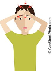 Man have headache pain cartoon vector illustrator. - Vector