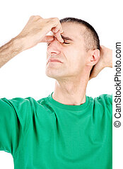 Man have migraine attack, isolated on white background
