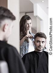 Man having a haircut
