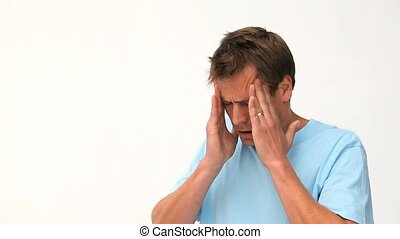 Man having a migraine against a white background