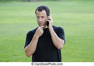 Man having a serious phone call