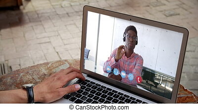 Man having a video conference - Animation of Caucasian man ...