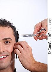 Man having an haircut