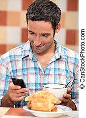 Man having breakfast