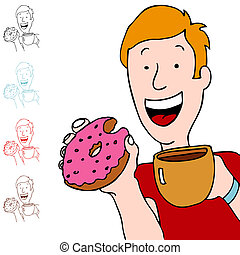 Man Having Coffee and Donut - An image of a man holding a...