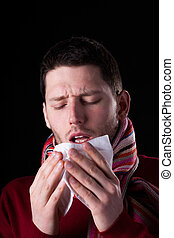 Man having cold