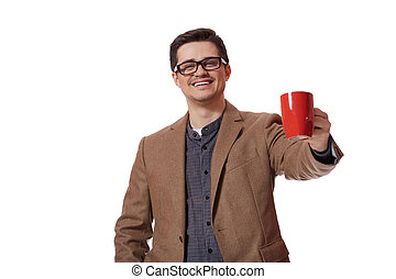 Man having cup of tea on white background