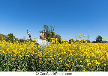 Man having freedom in nature