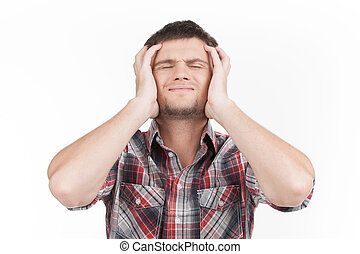 man having headache on white background. guy feeling stress and depression holding head with eyes closed