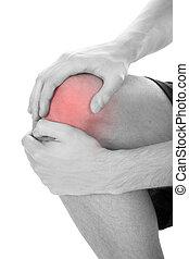 Man Having Knee Injury - Close-up Of Man Suffering From Knee...