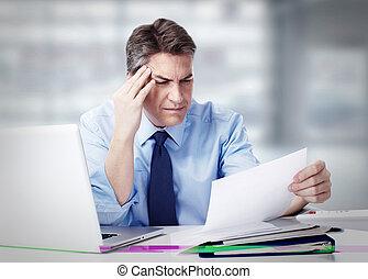 Man having migraine headache.