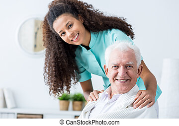 Man having private care - Image of elderly man having...