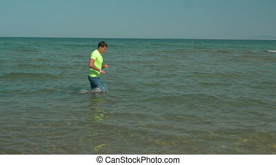 Man having run training in the water