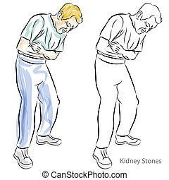 Man Having Stomach Pains - An image of a man with kidney...