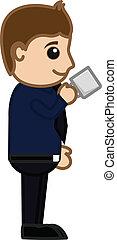 Man Having Tea - Cartoon