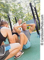 Man having workout with friends