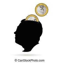man head as a piggy bank vector illustration