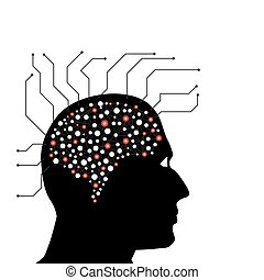 Man head circuit vector