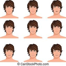 Man head emotions portraits set