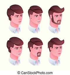 Man head hairstyle vector illustration