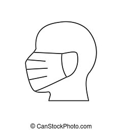 Man head in face mask line icon.