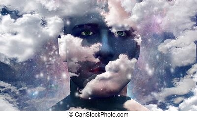 Man head in the sky animation