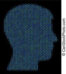 Man Head Profile Mosaic Icon of Halftone Circles
