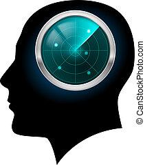 Man head silhouette. Illustration for design on white...