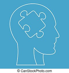 Man head silhouette with puzzle piece icon