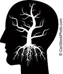Man head silhouette with tree