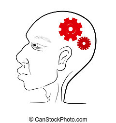 Man Head Vector Illustration With Red Cogs - Gears