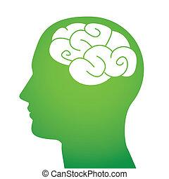 Man head with brain