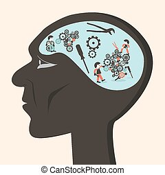 Man Head with Cogs and Workers Vector Illustration
