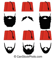 man head with fez set illustration