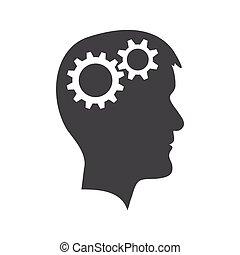 Man head with gear wheel - Grey man head with two gear...