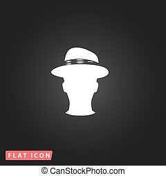 Man head with hat vector illustration