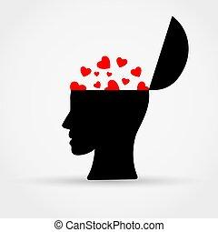 Man head with hearts.