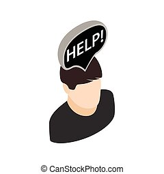 Man head with help sign icon, isometric 3d style