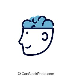 man head with human brain on white background