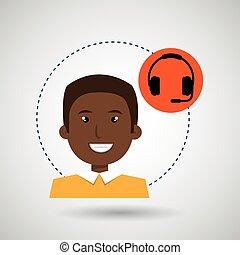 man headphone isolated design - man headphone isolated icon ...