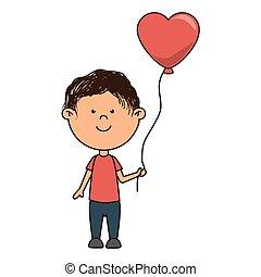 man heart balloon cartoon