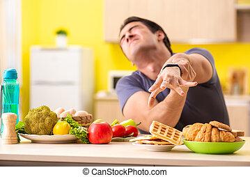 man, hebben, hard, keuze, tussen, gezonde , en, ongezond voedsel