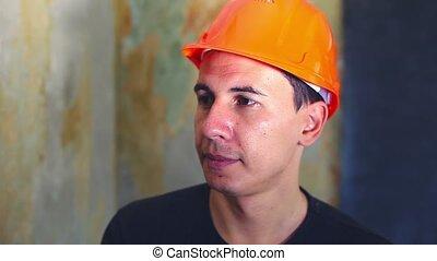 man helmet portrait construction worker in hard hat is talking