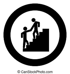 Man helping climb other man black icon in circle